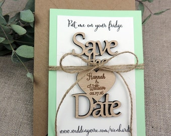Save The Date Magnet, Custom Save The Date Magnet, Rustic Wedding Favor, Personalised Wooden Wedding Gift,  Bridal Shower Favor, Mint Green