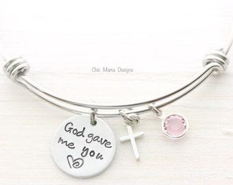 God Gave Me You, Charm Bracelet, Cross Bracelet, Mothers Bracelet, Birthstone Bracelet, Communion Bracelet, Handstamp