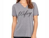 Wifey Shirt. Wifey T-shirt. Women's Clothing. Women's Shirts. Bachelorette Party Shirt. Vneck Shirt.