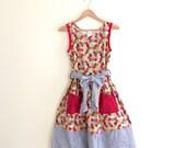 Vintage Mushroom Apple Butterfly Patchwork Print Sun Dress // Novelty Print Dress // Festival // Boho // Hippie 1970s