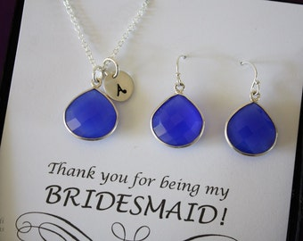 10 Blue Bridesmaid Necklace and Earring set Monogram, Bridesmaid Gift, Dark Blue Gemstone, Sterling Silver, Initial Jewelry, Personalized