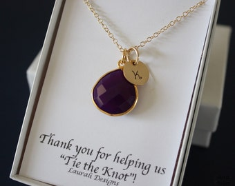 5 Monogram Bridesmaid Necklace Purple, Bridesmaid Gift, Dark Plum Gemstone, Gold, Initial Jewelry, Personalized, Purple Gemstone Charm