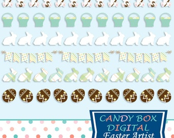 Easter Border Clipart With Easter Bunny, Chocolate Eggs, Basket Clip Art, And More - Commercial Use OK