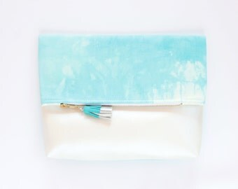Dyed cotton clutch bag. Fold over clutch. Leather handbag. Statement purse. Hand colored. Simple daily purse. Blue handbag. /MIA 48