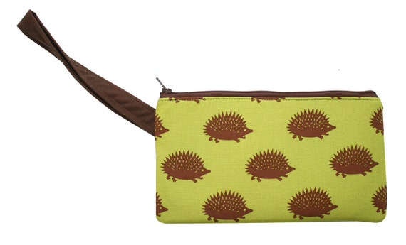 Hedgehogs, green, wristlet, flat bag, small bag