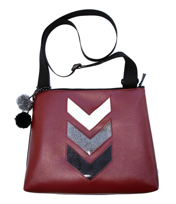 Dark red vinyl, chevron, glitter vinyl, pom poms, vegan, vegan leather, large, cross body bag