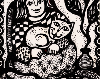 Cat and Girl Print, Black And White Art, Cat Art, Girl's Wall Art, Cat Folk Art, Girl And Cat, Comfort With Kitty by Paula DiLeo_52516