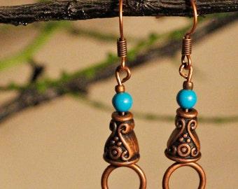 Copper Turquoise Earrings Free Worldwide Shipping