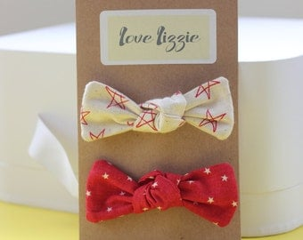 Red and cream stars, cotton, fabric, hair bows, clips