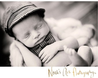 Newborn Hat Bow Tie Outfit Photography Prop Newsboy Houndstooth Boy Toddler Infant brown black grey