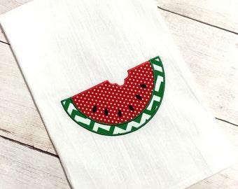 Watermelon Applique Kitchen Towel - Watermelon Towel - Watermelon - Applique Towel - Kitchen Towel - Flour Sack Towel - Tea Towel