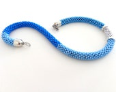 Azure blue Summer Necklace/Beaded Rope Necklace/Light blue Rope Necklace/Color-block necklace/Crocheted Necklace/Virtù n.15