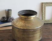 SALE - Vintage Brass Pot - Extra Large Vintage Hammered Brass Vase, Planter, Plant Pot, Pot - Boho Chic