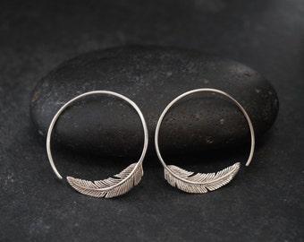 Silver hoop earrings - Feather Hoop Earrings - Silver - Tula hoop