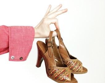 Brown Leather Sandals - Peep Toe Heels - Ladies Size 4 1/2