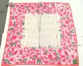 """SALE Pink Silk Vintage Designer YUKI TORII Floral Silk Scarf 34"""" x 35"""""""