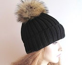 Raccoon Fur PomPom Cap Beanie Chunky Black Skull Hat fall winter Hand Made Accessory