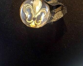 Aged Black and Gold Fluer De Lis Necklace, Hand Soldered Necklace, Circle Glass Necklace, Fleur De Lis Necklace, Soldered Jewelry, ON SALE