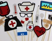 Nurse Photo Booth Props - 15 Pc Medical Photobooth Set - Features RN Dry Erase Name Tag