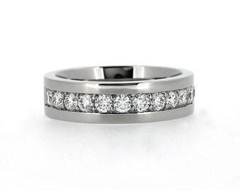 1.05ct Diamond wedding band made from 950 Platinum, man diamond ring, wide wedding ring, diamond eternity, unique, men platinum ring, modern
