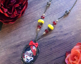 Handcrafted Santa Muerte necklace // burlesque style