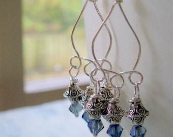 Chandelier Earring, Silver and Blue Gray Swarvoski Beaded Dangle Earring, Silver Earring, Long Dangle Earring,Womens Jewelry, Silver Earring