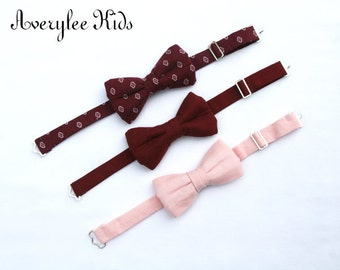 Boys Burgundy Bow Tie, Wine Bow Tie, Blush Pink Bow Tie, Toddler Bow Tie, Ring Bearer Outfit, Burgundy Wedding, Page Boy Outfit, Formal Wear