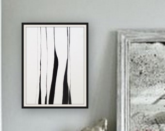 Abstract art. Original painting. Abstract painting, black and white, conceptual art. Modern house. modern art. Painting on paper. Rustic.