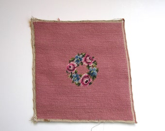 Vintage Floral Wreath Needlepoint . Completed Flower Needlepoint Canvas