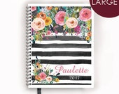 Large Personalized Planner 2016 2017 Calendar Book with Watercolor Florals on Black Stripes