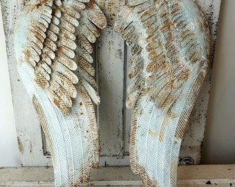 Metal angel wings wall hanging home decor pale blue shabby cottage chic accented white distressed large ornate wing set anita spero design