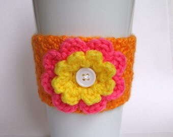 Crochet Flower Coffee Cup Cozy Orange, Pink, and Yellow