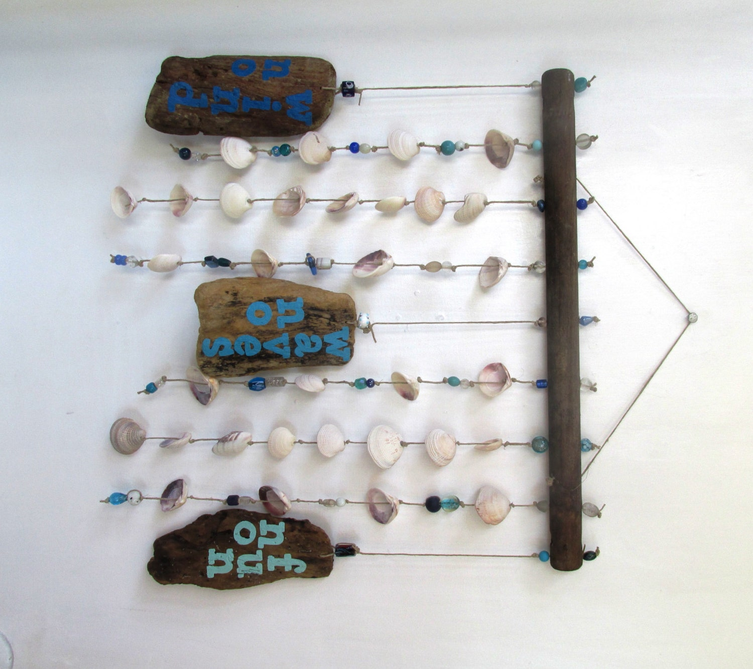 No Wind Waves Fun Shell Driftwood Windchime Mobile Surf