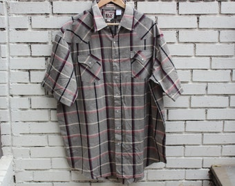 Vintage ELY CATTLEMAN button up shirt Western short sleeve buttons collared plaid formal clothing XXL tall man