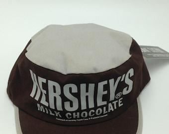 Vintage HERSHEY'S Milk Chocolate Snapback Hat Adjustable Cap Candy Bar Food Vtg Headwear