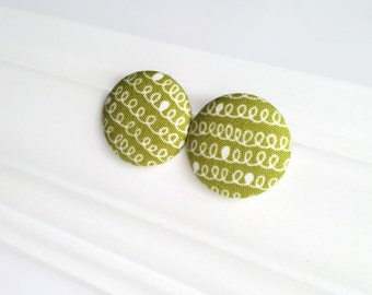 Fabric covered button earrings chartreuse green - Spring earrings - Button studs - Post earrings - Recycled jewelry - Mademoiselle Bouton