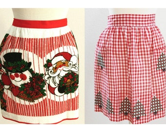 Two Vintage Christmas Aprons, Santa and Snowman, Cross-Stitch Trees