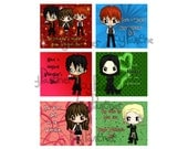 DIGITAL DOWNLOAD - Six (6) Harry Potter Themed Chibi Valentines Day Valentine Cards, Custom Valentine Card