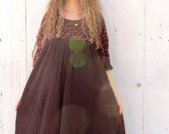 Dress Woodland - womens peasant dress - repurposed couture size large - recycled repurposed clothes for ladies - bohemian dress