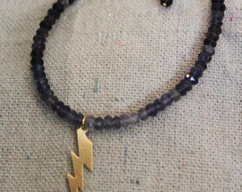 Stormy Stacking Bracelet: tiny faceted iolite rondelle beads with 14k gold filled lightening charm and lobster clasp