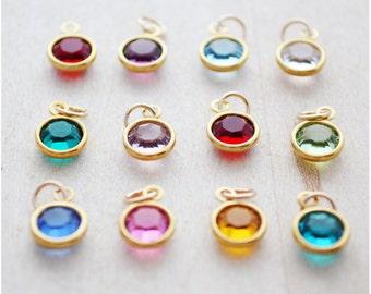 Add On Swarovski Birthstone - Pick Your Birth Month Charm - Goldplate Birthstone - Birth Stone