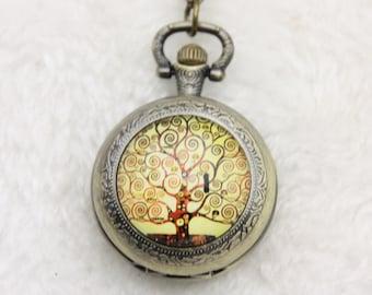 Pocket Watch Necklace klimt  tree of life