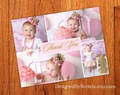 Pink and Gold Birthday Thank You Postcard with Photos - Cute Custom Design - Sweet Look for Little Girl's 1st Birthday - Any Age or Colors