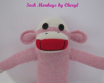 Original Sock Monkey Pink Rockford Red Heel Soft Doll Handmade