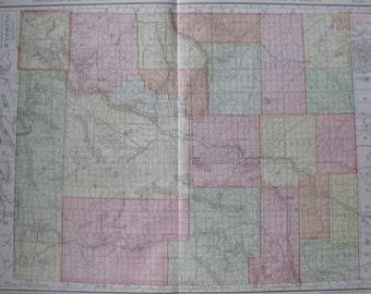 RARE Size WYOMING Map of Wyoming w RAILROADS 1914 Montana Gallery Wall Art Map  Plaindealing 6689
