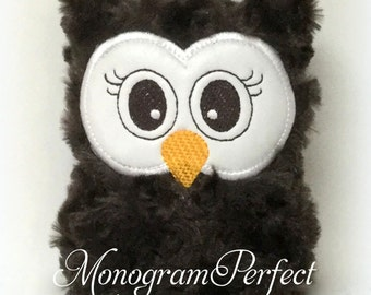 Ready to Ship---Dark Brown Plush Mini Owl Rattle -NOT PERSONALIZED