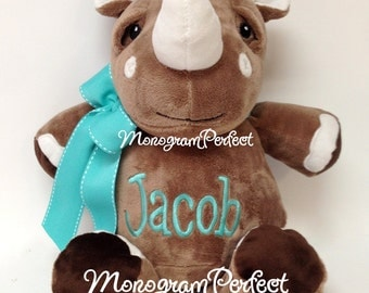 "Jacob - Already Personalized 14"" Plush Rhino Rhinoceros Stuffed Animal"