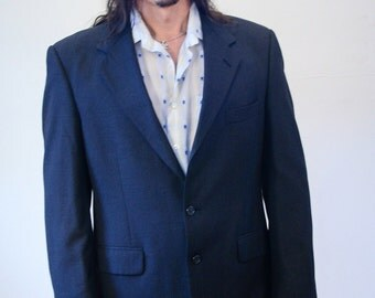 80s Burberry's Wool Blazer, Burberry's Gray Wool Sport Coat, Burberry's Blazer, Size M 40R