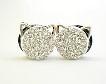 Glitter Cat Druzy Plugs 14mm