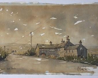 Yorkshire moors landscape painting, Northern moorland landscape, Sepia, Nont Sarahs pub, Huddersfield, Bleak cold winter landscape